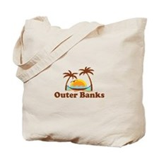 Outer Banks NC - Palm Trees Design Tote Bag