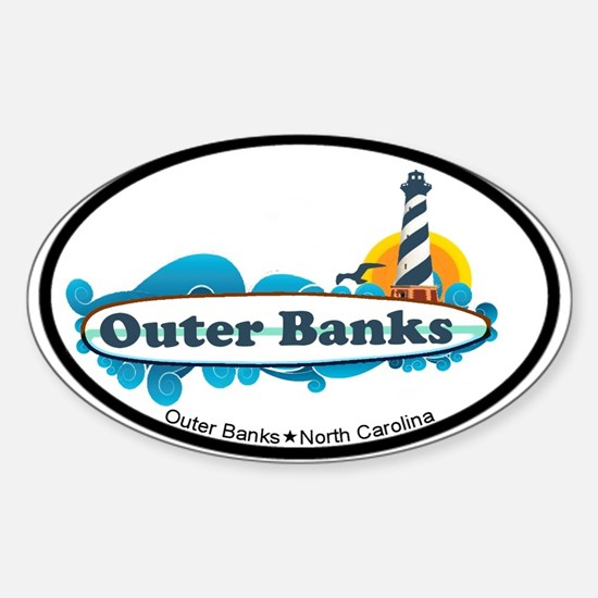 Outer Banks NC - Surf Design Sticker (Oval)