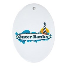 Outer Banks NC - Surf Design Ornament (Oval)