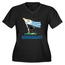 Cute Uruguay Women's Plus Size V-Neck Dark T-Shirt