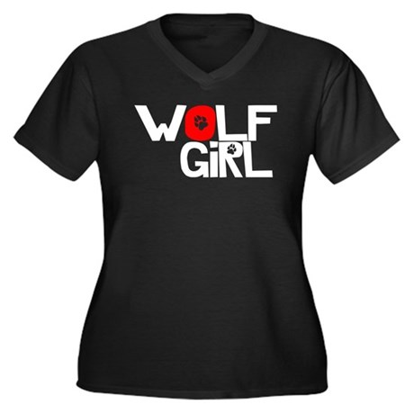 Wolf Girl - Women's Plus Size V-Neck Dark T-Shirt