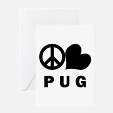 Peace Love Pug Greeting Card