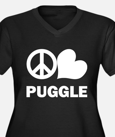 Peace Love Puggle Women's Plus Size V-Neck Dark T-