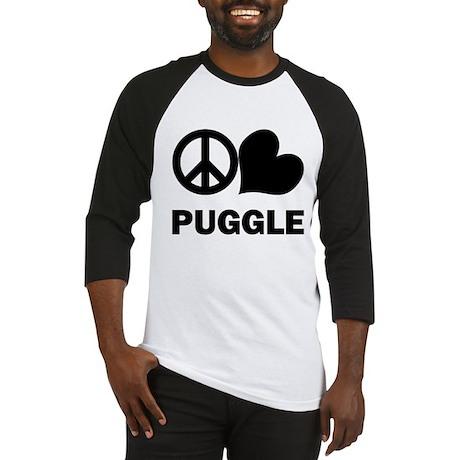 Peace Love Puggle Baseball Jersey