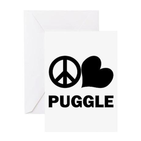 Peace Love Puggle Greeting Card
