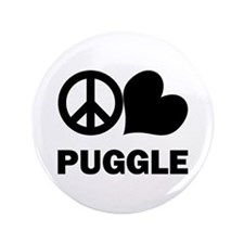 "Peace Love Puggle 3.5"" Button"
