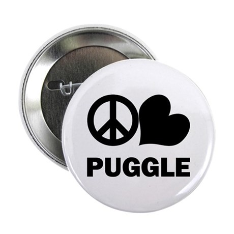 "Peace Love Puggle 2.25"" Button"
