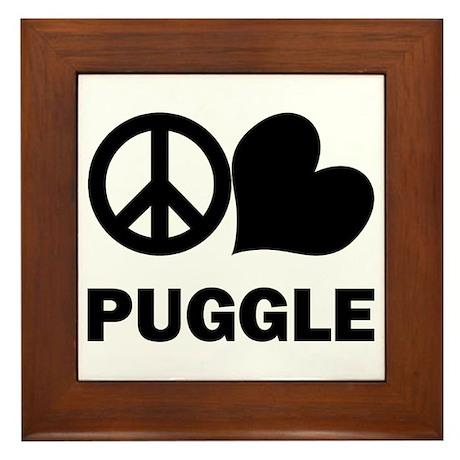 Peace Love Puggle Framed Tile