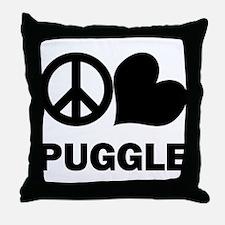 Peace Love Puggle Throw Pillow