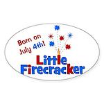 Born on July 4th Little Firec Sticker (Oval)