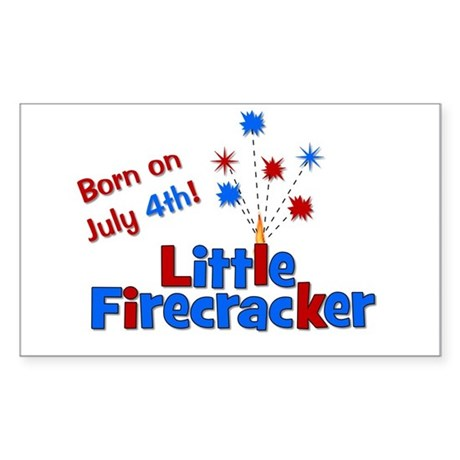 Born on July 4th Little Firec Sticker (Rectangle)