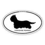 Yorkie Euro Oval Sticker (Oval 10 pk)