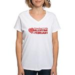 Little Valentine February Women's V-Neck T-Shirt
