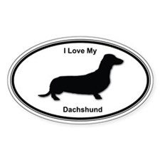 I Love My Dachshund Oval Decal