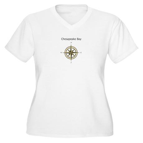 Chesapeake Compass Rose Women's Plus Size V-Neck T