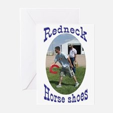 redneck horseshoe pitching Greeting Cards (Package