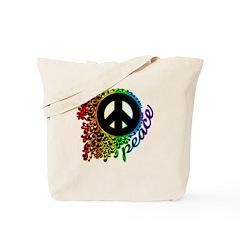 Rainbow Peace Swirl Tote Bag