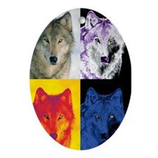 4 Wolf Faces Ornament (Oval)