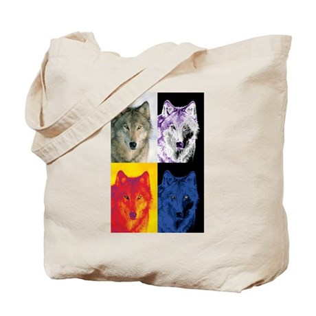 4 Wolf Faces Tote Bag