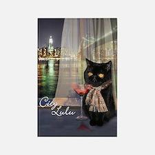 City Lulu Black Cat Rectangle Magnet