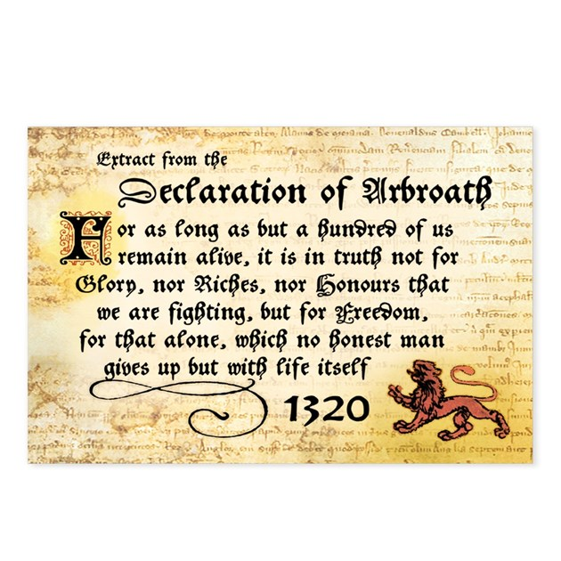 declaration of arbroath How the declaration of arbroath survived the document in the national records of scotland is the only surviving copy of the declaration the pope's copy in avignon has not survived.