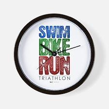 Swim, Bike, Run - Triathlon Wall Clock