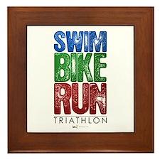 Swim, Bike, Run - Triathlon Framed Tile