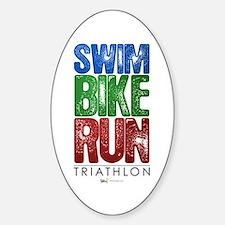 Swim, Bike, Run - Triathlon Sticker (Oval)