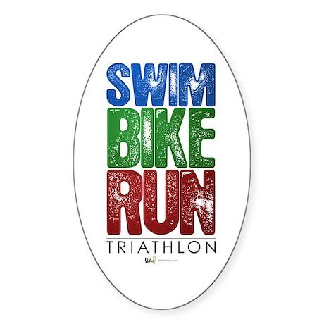 Swim, Bike, Run - Triathlon Sticker (Oval 10 pk)