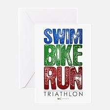 Swim, Bike, Run - Triathlon Greeting Card