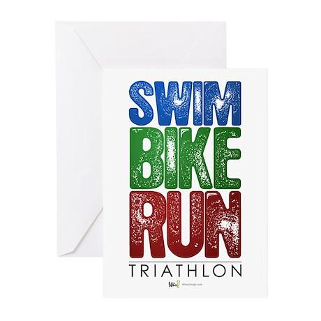 Swim, Bike, Run - Triathlon Greeting Cards (Pk of