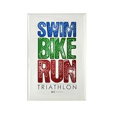 Swim, Bike, Run - Triathlon Rectangle Magnet