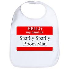 Sparky Sparky Boom Man Name Tag Bib