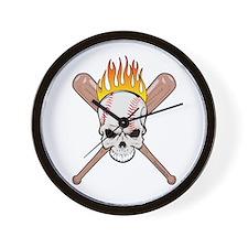 Skull Baseball Wall Clock