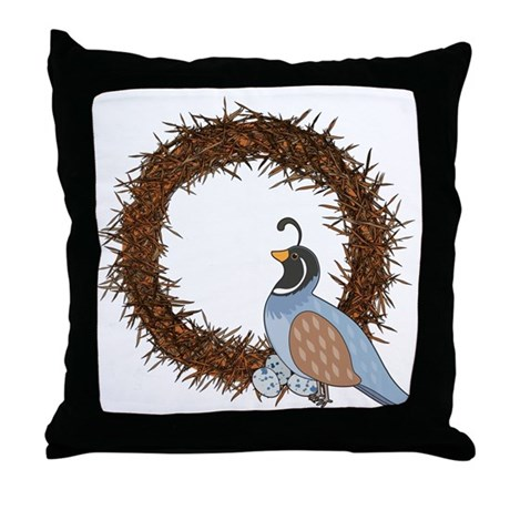 Animal Alphabet Quail Throw Pillow by mariabellimages