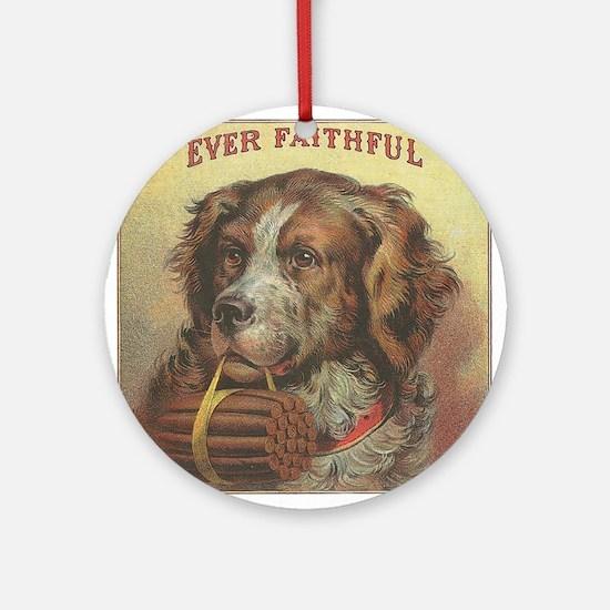 Faithful Dog with Cigars Ornament (Round)
