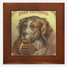 Faithful Dog with Cigars Framed Tile