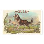 Collie antique label Sticker (Rectangle)