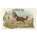 Collie antique label Sticker (Rectangle 50 pk)