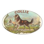 Collie antique label Sticker (Oval 50 pk)
