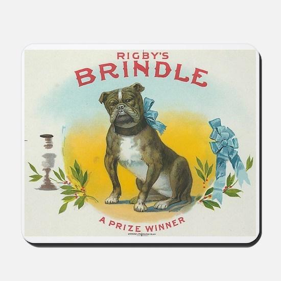 Brindle Bulldog antique label Mousepad