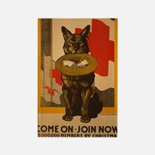 Red Cross Dog Poster Rectangle Magnet