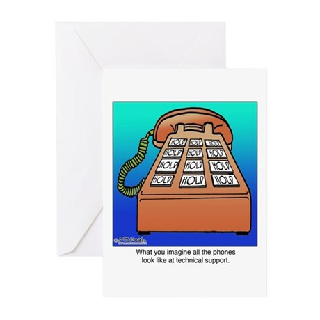 Phones at Technical Support Greeting Cards (Pk of