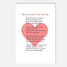 Red, Red Rose, Burns Poem Postcards (Package of 8)