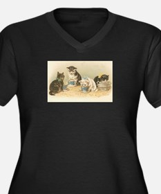 Kittens and Tea Cups 1 Women's Plus Size V-Neck Da