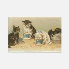 Kittens and Tea Cups 1 Rectangle Magnet