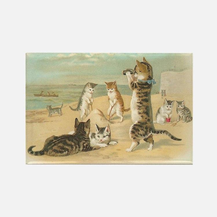 Kitties on the Beach Rectangle Magnet