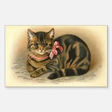 Grey Tabby Victorian Cat Decal