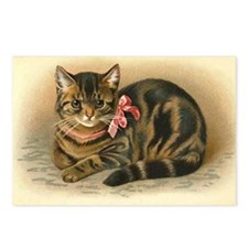 Grey Tabby Victorian Cat Postcards (Package of 8)