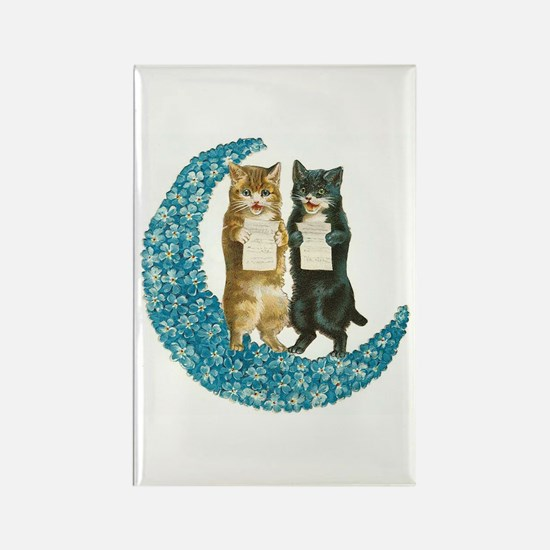 Blue Moon Singing Cats Rectangle Magnet